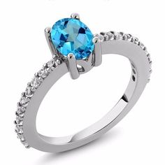 GemStoneKing New 1.30 Ct American Blue Mystic Topaz and White Created Sapphire Jewelry ring 925 Sterling Silver Ring For Women