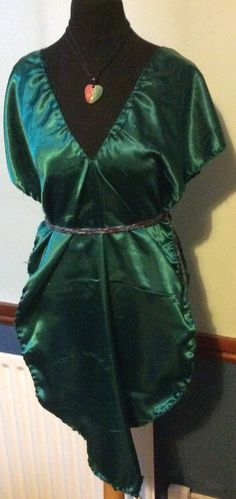 New  MALAIKA Emerald Green Gorean slavewear kajira silky Camisk belled pointed hem size 6-14 Free UK P/P