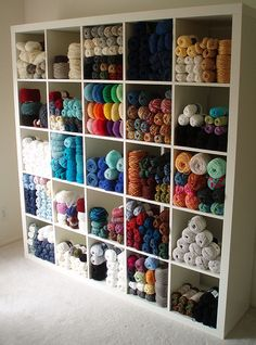 Beautifully organized yarn collection Will be a great system paired with my fabric collection.  6 for fabric and 3 for yarn
