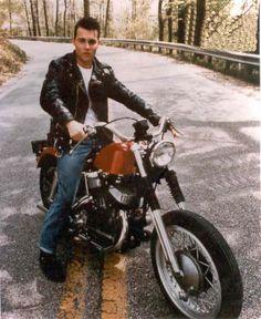 Johnny Depp on a Harley-Davidson K model