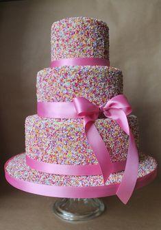 Sprinkle wedding cake  we ❤ this!  moncheribridals.com  #weddingcake #weddingcakewithsprinkles