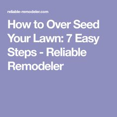 How to Over Seed Your Lawn: 7 Easy Steps - Reliable Remodeler