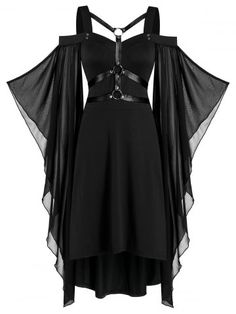 Kleidung OFF] Batwing Sleeve Harness Insert Lace-up High Low Dress Cute Dresses, Vintage Dresses, Casual Dresses, Fashion Dresses, Cheap Dresses, Teen Dresses, Spring Dresses, Dresses Dresses, Dress Summer