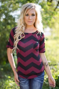 Chevron Muse Blouse in Black *RESTOCK* - Tops