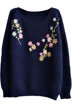 Preppy Look Raglan Sleeve Floral Embroidered Long Sleeve Sweater, Fashion Style Sweaters & Cardigans Do you think I should buy it? Diy Embroidery Patterns, Hand Embroidery Videos, Hand Embroidery Art, Embroidery On Clothes, Flower Embroidery Designs, Embroidered Clothes, Embroidery Fashion, Sweater Embroidery, Preppy Look