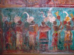Chiapas, Zona Arqueológica de Bonampak, Edificio 1, Sala 1, Mural describiendo la coronación de Chaan Muan II