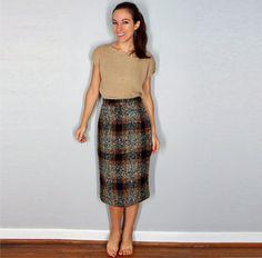 1950s Vintage Wool Pencil Skirt Plaid Skirt by EleanorsAntiquities