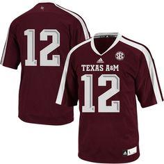 12 Texas A M Aggies adidas Replica Football Jersey - Maroon 976301fcd