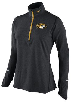 Missouri (Mizzou) Tigers Nike 1 4 Zip Pullover - Tigers Womens Black Element 91fee36a7