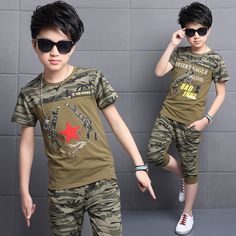 13.60$  Watch here - Teenagers Big Teens children's Boys Camouflage clothing summer short sleeve sports 2 two pieces sets suit for boys set costume  #SHOPPING