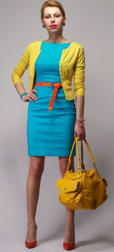 Wearing turquoise with yellow - My Fashion Wants Turquoise Dress Outfit, Teal Outfits, Turquoise Clothes, Yellow Clothes, Office Outfits, Summer Work Dresses, Summer Dress Outfits, Yellow Cardigan Sweater, Color Blocking Outfits