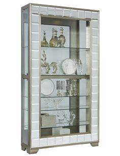 Side Entry Mirrored Curio Cabinet in Platinum | Pulaski | Home Gallery Stores
