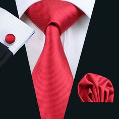 2016 Hot Wedding Tie Hanky Cufflinks Set Red Solid Pattern Gravata 100% Handmade Silk Ties for Mens Business Party LS-206