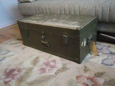 Vintage Military Army Metal Wood Footlocker Storage Trunk