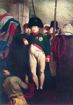 L'Empereur à bord du Bellephoron Les Cent Jours: le désastre de Waterloo (18 juin) accule Napoléon à une 2° abdication en faveur de son fils (22 juin) et il s'embarque sur le Bellorophon pour gagner Ste-Hélène. Le 6 juillet, les Alliès entrent à Paris, et Louis XVIII est restauré le 8/