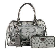 Coach Poppy Lurex Signature Pushlock Satchel Handbag with Matching Wallet