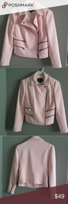 Moto jacket with a twist Moto jackets: edgy, black, leather, tough vibes. Pale pink: sweet, soft, feminine. Put them together and you get a unique jacket that speaks of your many facets, and geeat taste, of course.  Worn once. Excellent condition. Banana Republic Jackets & Coats