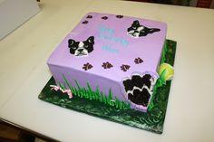 Boston Terrier Cake Boston Terrier Cake, Farm Cake, Cakes, Desserts, Handmade, Tailgate Desserts, Barnyard Cake, Deserts, Hand Made