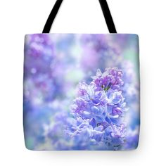 """Lilac 02 Tote Bag (18"""" x 18"""") by Wei-San Ooi.  The tote bag is machine washable, available in three different sizes, and includes a black strap for easy carrying on your shoulder.  All totes are available for worldwide shipping and include a money-back guarantee."""