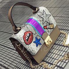 TBDress - TBDress Korea Style Trendy Color Block Chain Tote Bag - AdoreWe.com