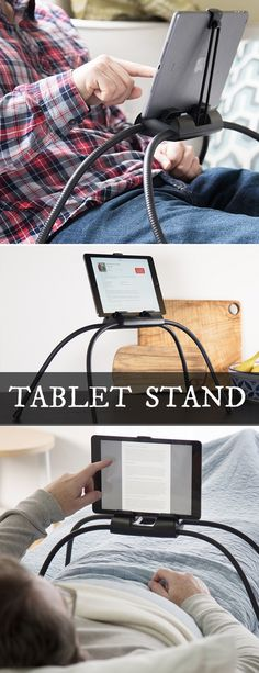Get comfy and enjoy your tablet, hands-free. Bendable legs of this tablet stand keep it steady. And with your tablet at eye level, it�s easier on your neck, too.