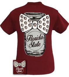 1ecabf22ca8ad FSU Florida State Seminoles Mason Jar Big Bow Girlie Bright T Shirt