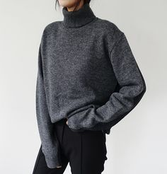 Cozy and Warm: Grey Turtle Neck Sweater Similar Style available on SiiZU