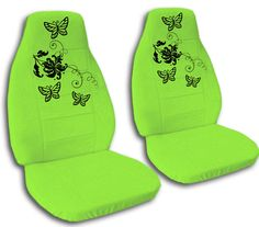 SPECIAL SET BUTTERFLY CAR SEAT COVERS Lime Green OTHER COLORS AVAILABLE TOO On EBay