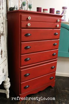 Maison Blanche Vintage Furniture Paint in Cerise with a little distressing and finished with Antique Wax in Dark Brown