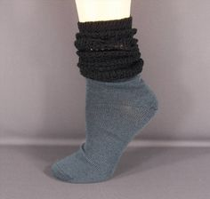 11.87$  Watch here - http://visbh.justgood.pw/vig/item.php?t=2wo712e49907 - Black Grey Gray knit slouch slouchy scrunch womens ladies boot socks 9-11 size 11.87$