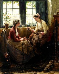 Edward Antoon Portielje showing two ladies schatting and sewing near the window with a geranium on the sill.