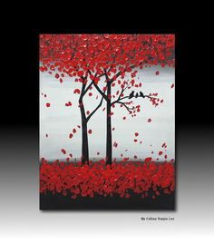 Small size Original red abstract Textured Acrylic by YueJinArt