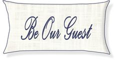 """Be Our Guest"" Cream and Navy Conversation Pillow Cover – New South Home Couture"