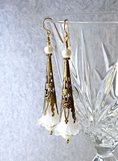 White Ivory Pearl 14kt Gold Filled Bridal Earring Victorian Art Nouveau Tussie Mussie Unique Vintage Wedding Bride Bridesmaid Gift Swarovski