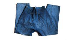- 1900's worn herringbone indigo pants