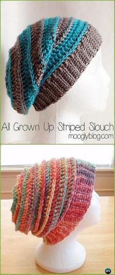 Crochet All Grown Up Striped Slouch Hat Free Patterns -Crochet Slouchy Beanie Hat Free Patterns by leta