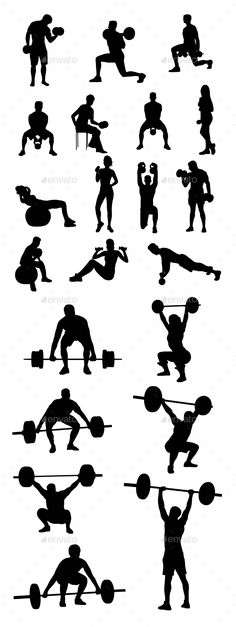 Dumbbell Exercises and Weightlifter Silhouettes - Sports/Activity Conceptual