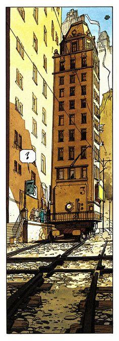comic panel from 'Le Fond du monde' vol.2: 'Monsieur P' by  Éric Corbeyran and Denis Falque (1997)