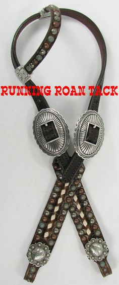 Vintage Scroll Headstall with White Buckstitch and Navajo Buckles by Running Roan Tack