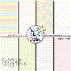 Star Digital Paper, COMMERCIAL USE, Star Pattern, Printable Paper, Star Paper, Star Party, Star Celebration, Paper Pack, Pastel Pattern, DIY