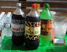 Safari Party Theme Snacks | Jungle Safari / Baby Shower/Sip See / Party Photo: Jungle Juice ...