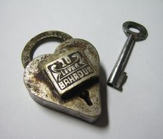 Heart Shaped Lock and Key - 3/3; Antique, heart, Iron, key, Lock, love, Metal, romance, silver