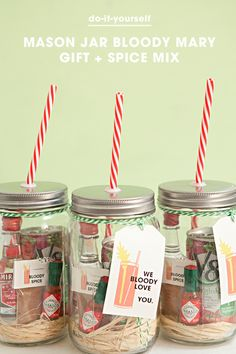 Mason Jar Bloody Mary Gift with delicious spice mix recipe + tag downloads!