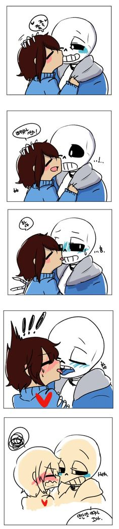 Frisk: Sans! I like you! Go out with me! Sans: ...? Kid...? What did you say? Sans: Even though I'm a skeleton and you are a human? Frisk: ...Yeah! (Hug) Frisk: I think I like you more cause you ar...