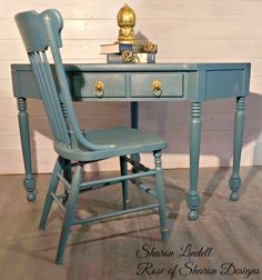 Ethan Allen Corner Desk with crackle and gold dusting finishes.