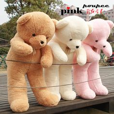 Free shipping plush toys large plush teddy bear doll 1.6 m giant plush stuffed animals big teddy bear $73.50 | It comes In these colors. But I love the pink one the best. So Cute <3