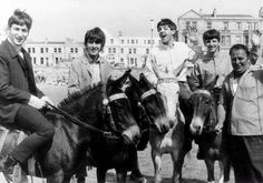 The Beatles riding donkeys at the seaside.