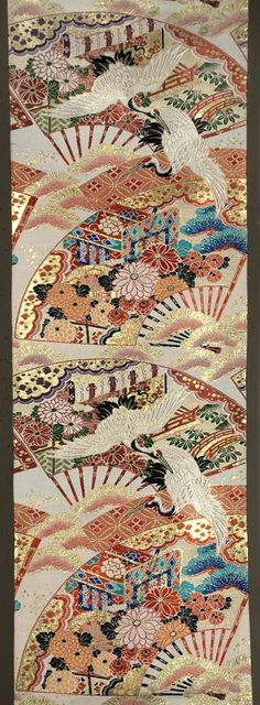 """Japanese Maru Obi 12½""""x 152"""" Silk and metallic brocading with fans and cranes."""