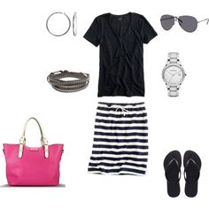 Black and White Stripes With Pop Of Pink :)