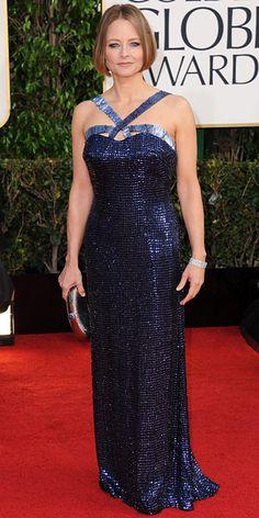 Jodie Foster wearing a sequin Giorgio Armani navy gown paired with Martin Katz's vintage diamond bracelet.